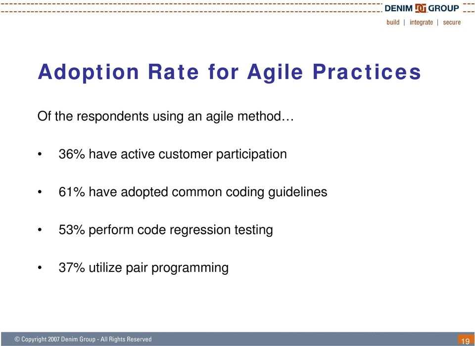 participation 61% have adopted common coding guidelines