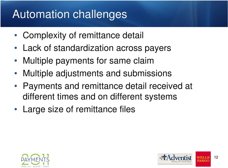 Multiple adjustments and submissions Payments and remittance detail