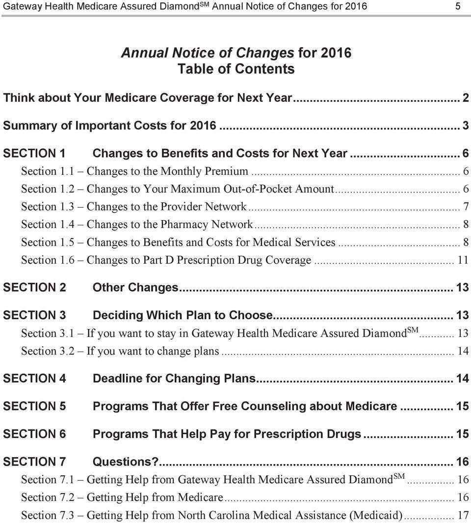 .. 7 Section 1.4 Changes to the Pharmacy Network... 8 Section 1.5 Changes to Benefits and Costs for Medical Services... 8 Section 1.6 Changes to Part D Prescription Drug Coverage.