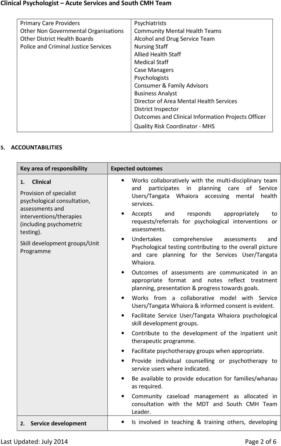 Clinical Information Projects Officer Quality Risk Coordinator - MHS 5. ACCOUNTABILITIES Key area of responsibility Expected outcomes 1.