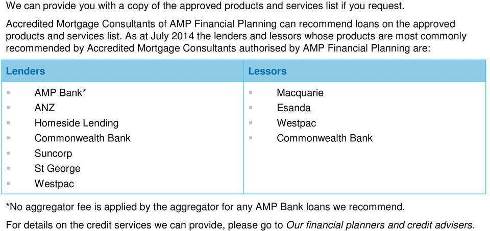 As at July 2014 the lenders and lessors whose products are most commonly recommended by Accredited Mortgage Consultants authorised by AMP Financial Planning are: Lenders