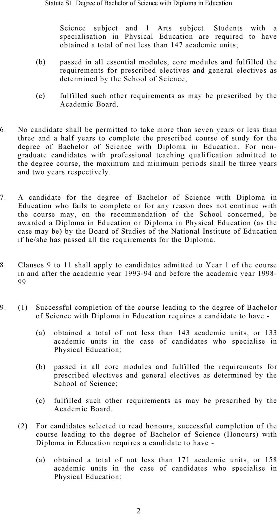 requirements for prescribed electives and general electives as determined by the School of Science; fulfilled such other requirements as may be prescribed by the Academic Board. 6.