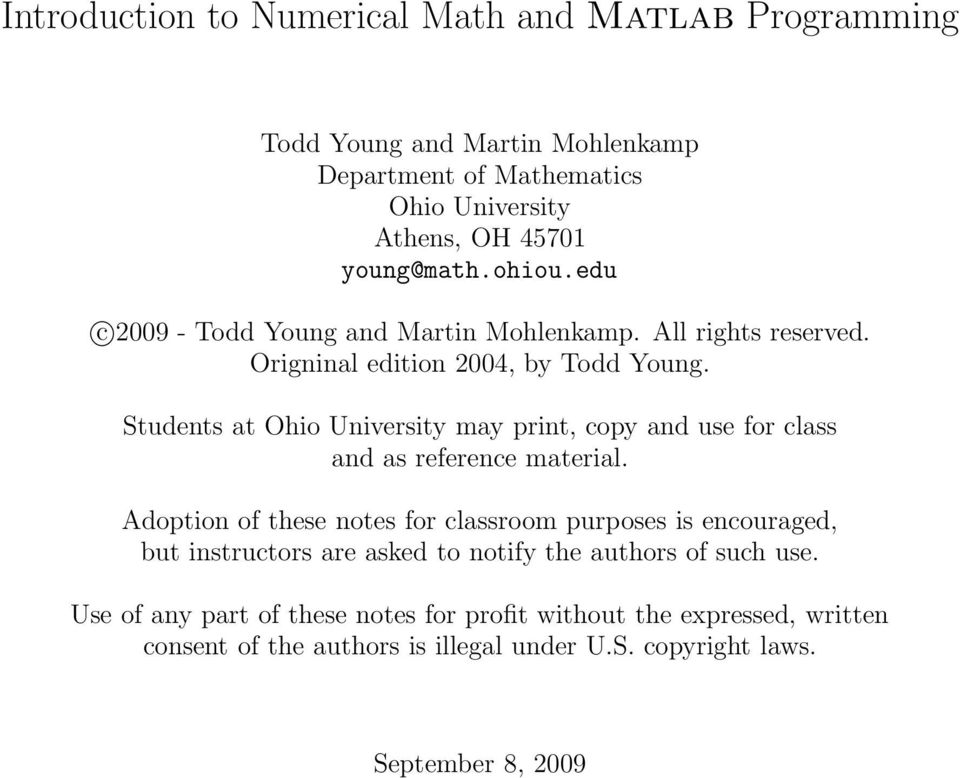 Introduction to Numerical Math and Matlab Programming - PDF