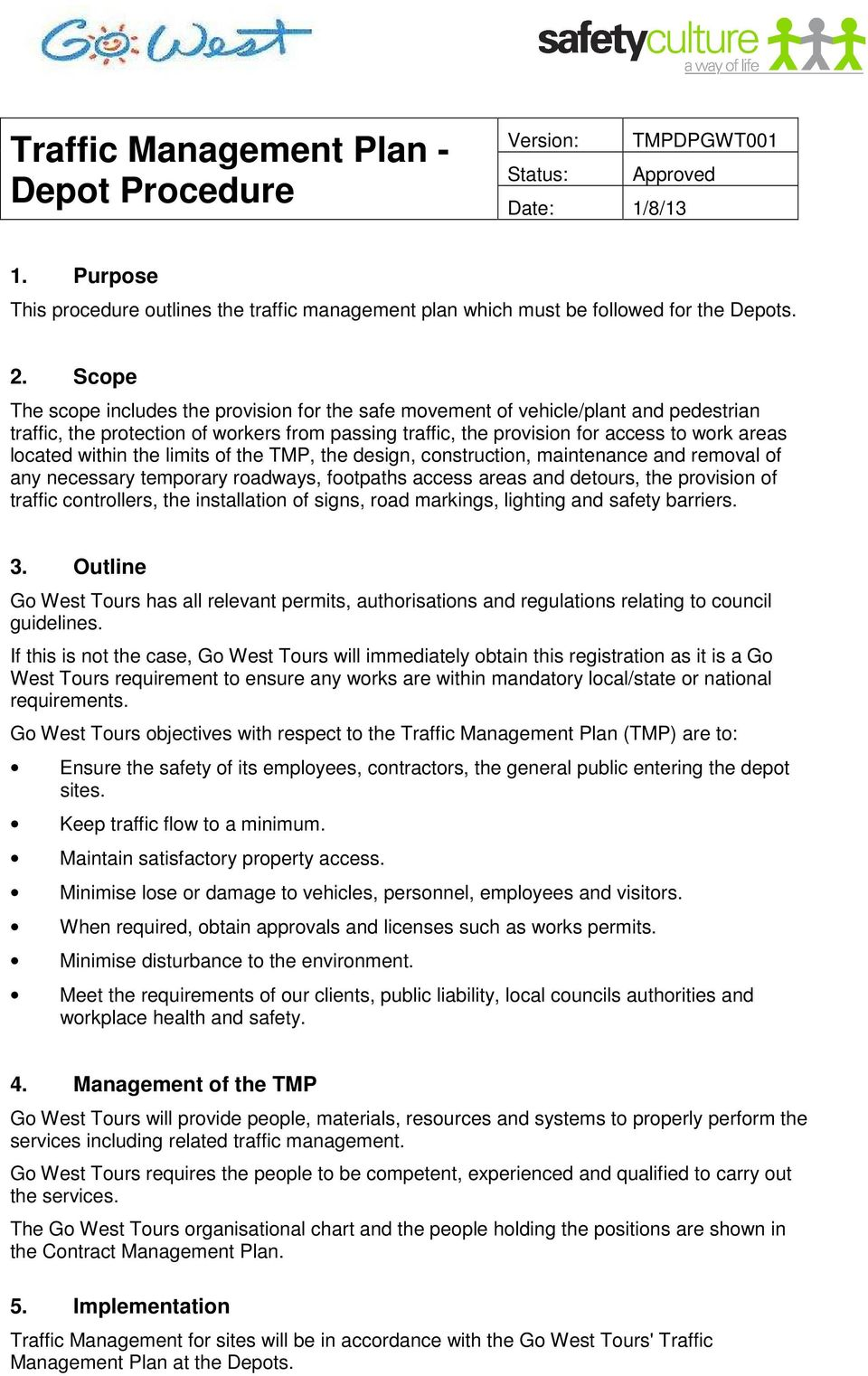 Traffic Management Plan Depot Procedure Pdf Free Download