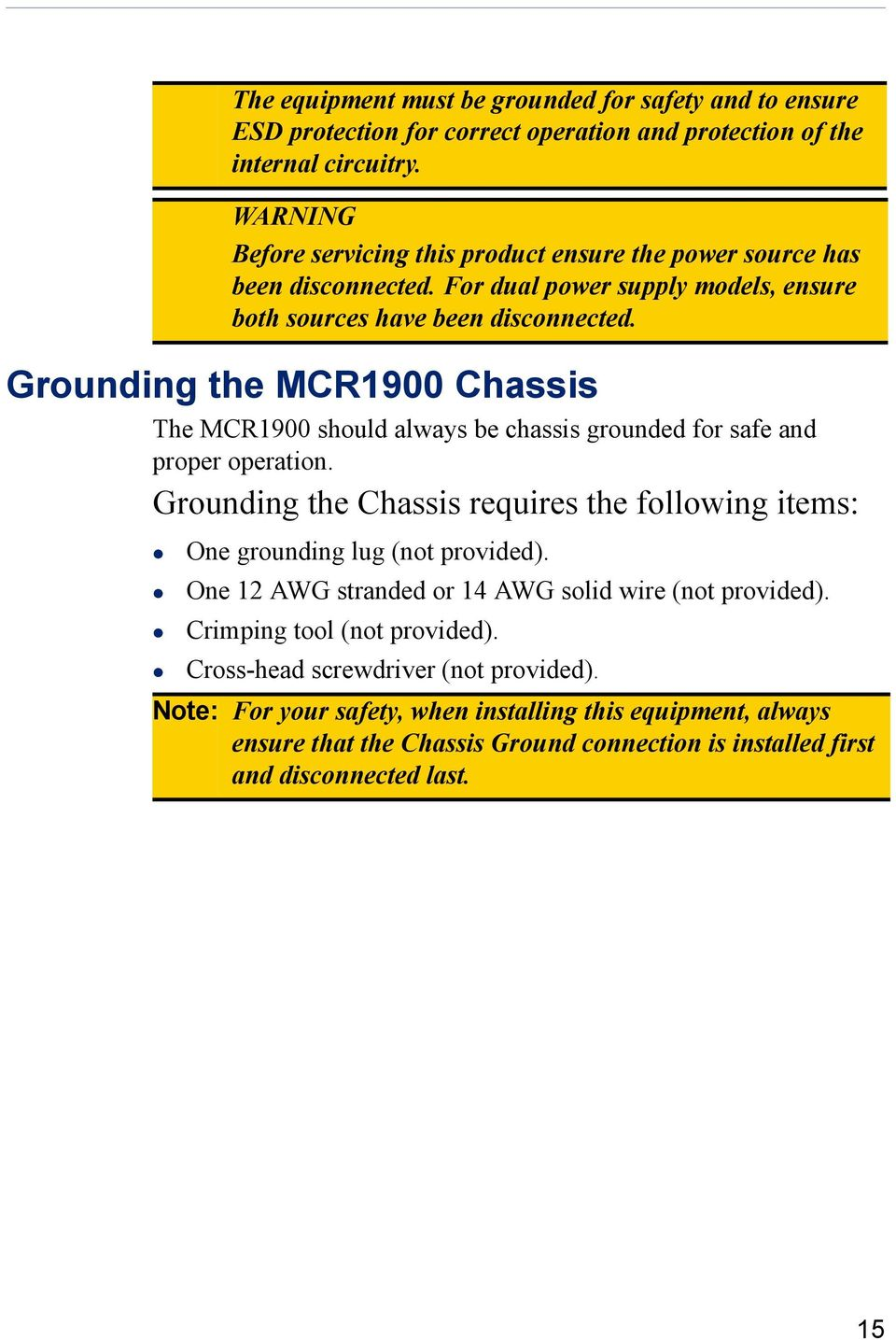 Grounding the MCR1900 Chassis The MCR1900 should always be chassis grounded for safe and proper operation.