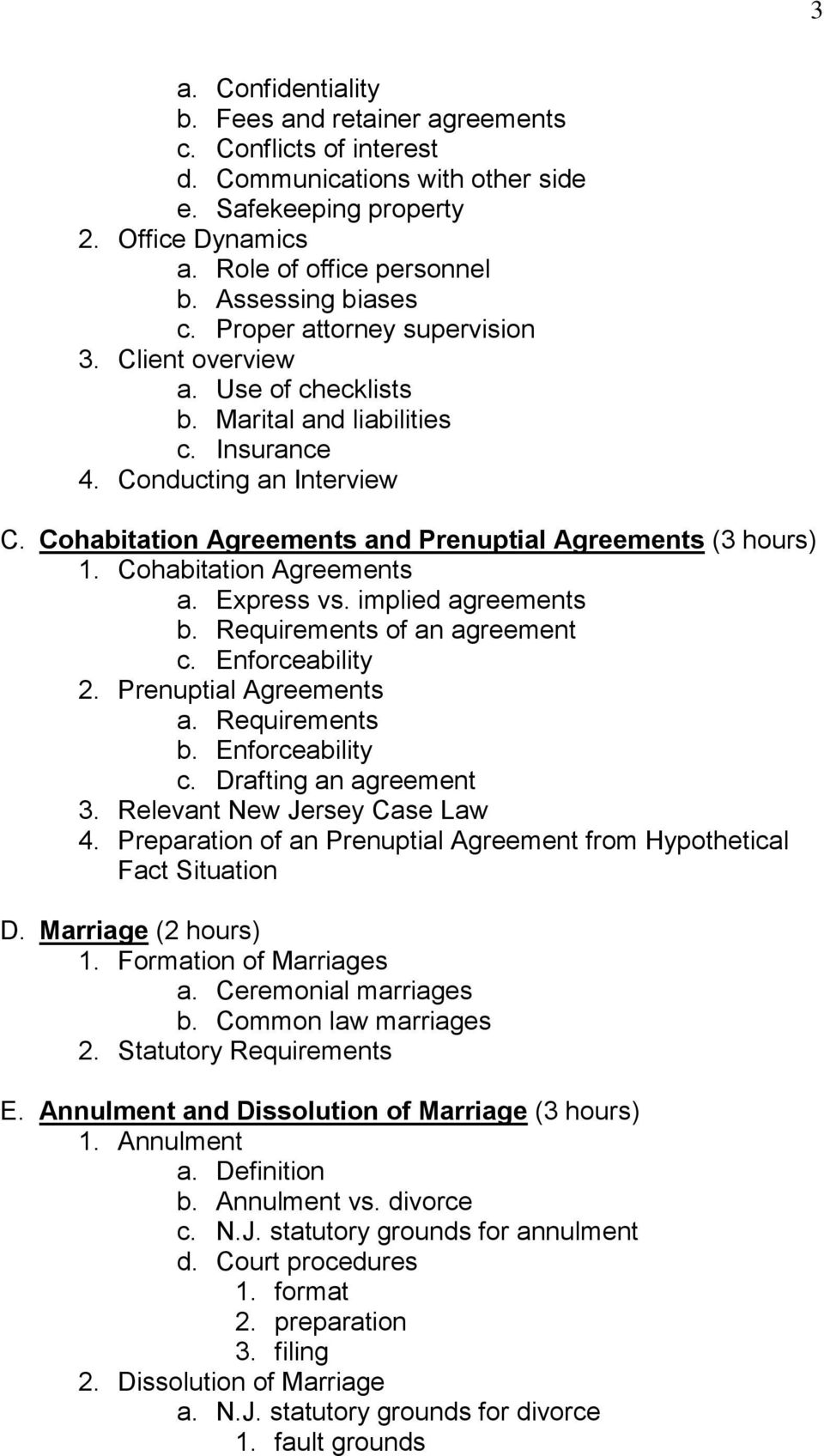 Cohabitation Agreements and Prenuptial Agreements (3 hours) 1. Cohabitation Agreements a. Express vs. implied agreements b. Requirements of an agreement c. Enforceability 2. Prenuptial Agreements a.