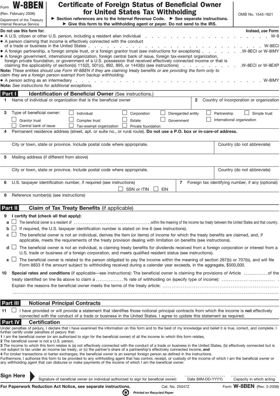 Form W-8BEN Completion & Submission Guidelines for Corbis ...
