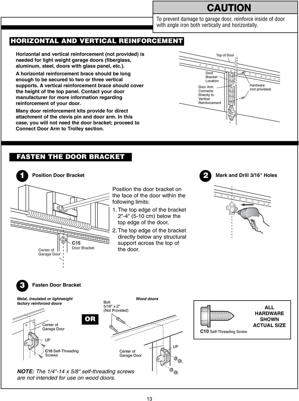 Garage Door Opener Assembly Installation Manual Pdf Reinforcement Bracket On Motor Diagram A Vertical Brace Should Cover The Height Of Top Panel Contact Your
