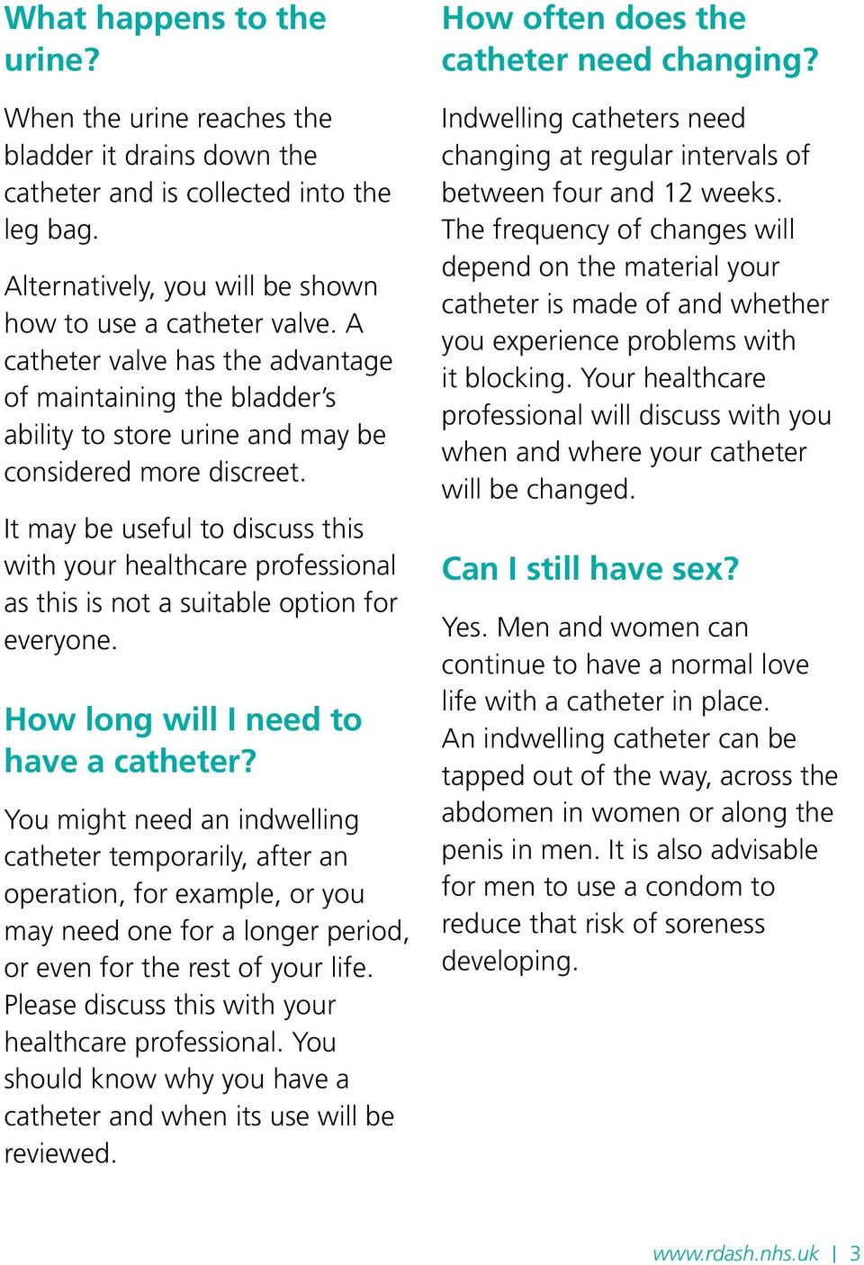 It may be useful to discuss this with your healthcare professional as this is not a suitable option for everyone. How long will I need to have a catheter?