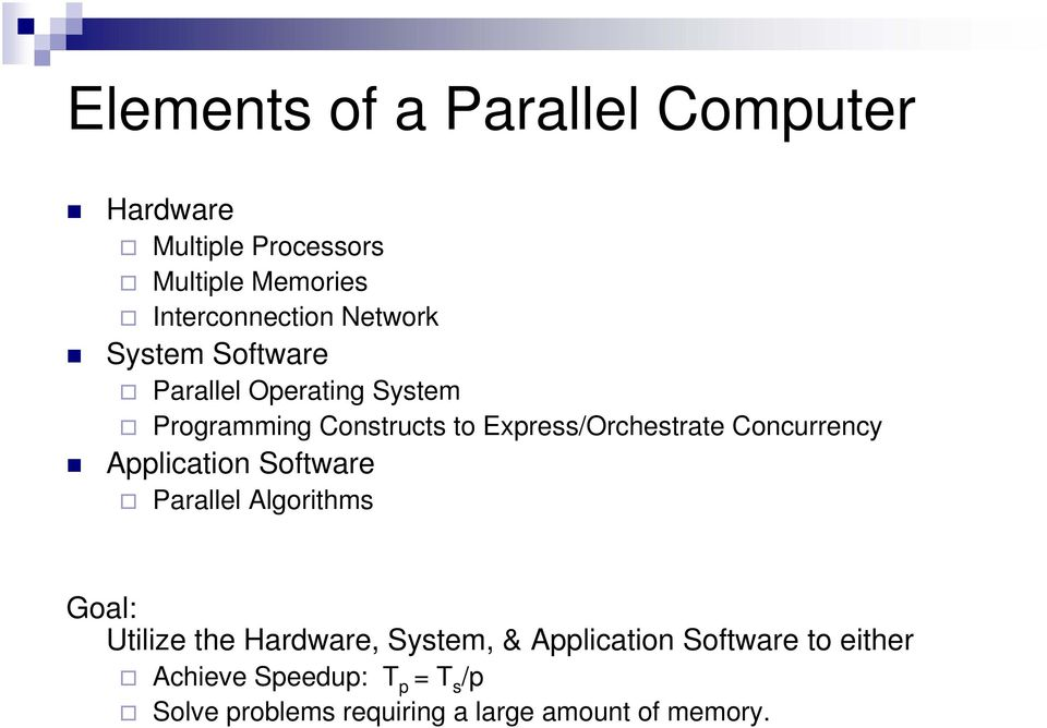 Concurrency Application Software Parallel Algorithms Goal: Utilize the Hardware, System, &