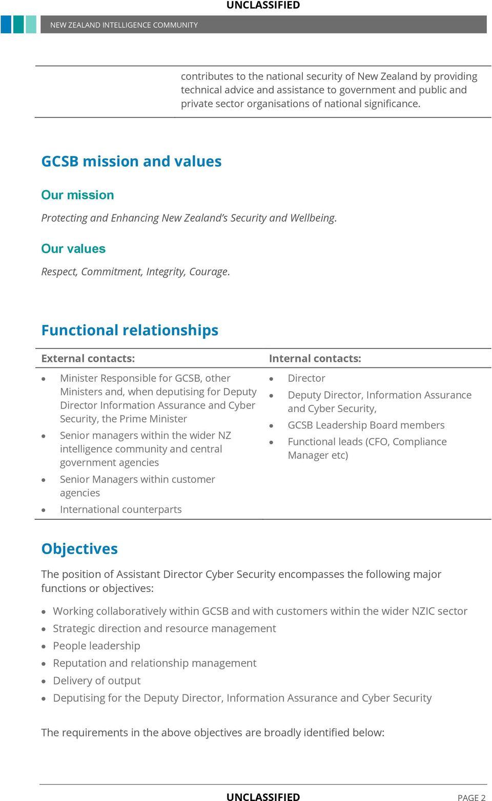 Functional relationships External contacts: Internal contacts: Minister Responsible for GCSB, other Ministers and, when deputising for Deputy Director Information Assurance and Cyber Security, the