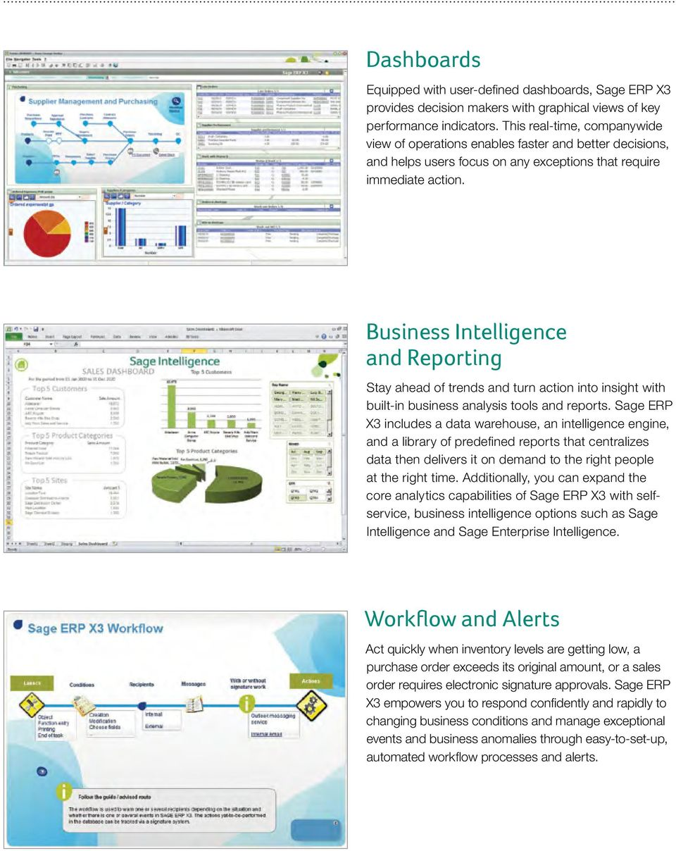 Business Intelligence and Reporting Stay ahead of trends and turn action into insight with built-in business analysis tools and reports.