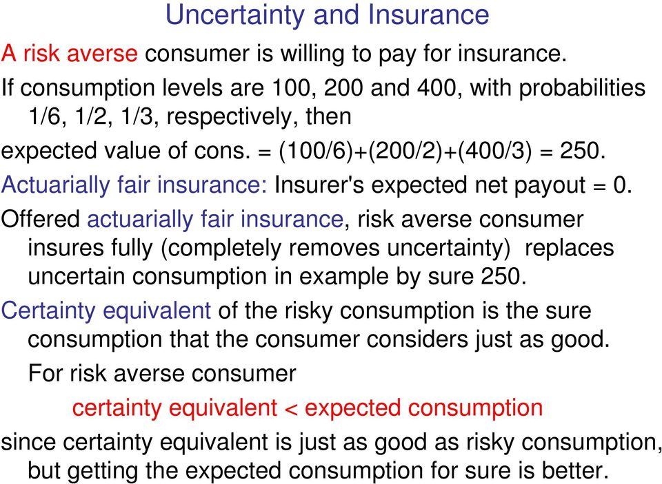 Actuarially fair insurance: Insurer's expected net payout = 0.