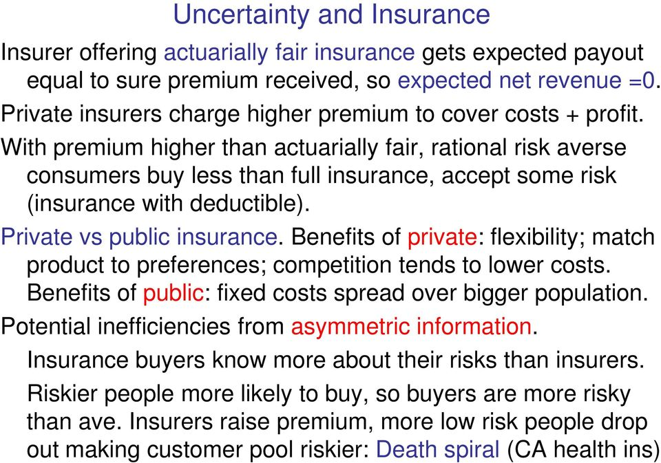 With premium higher than actuarially fair, rational risk averse consumers buy less than full insurance, accept some risk (insurance with deductible). Private vs public insurance.
