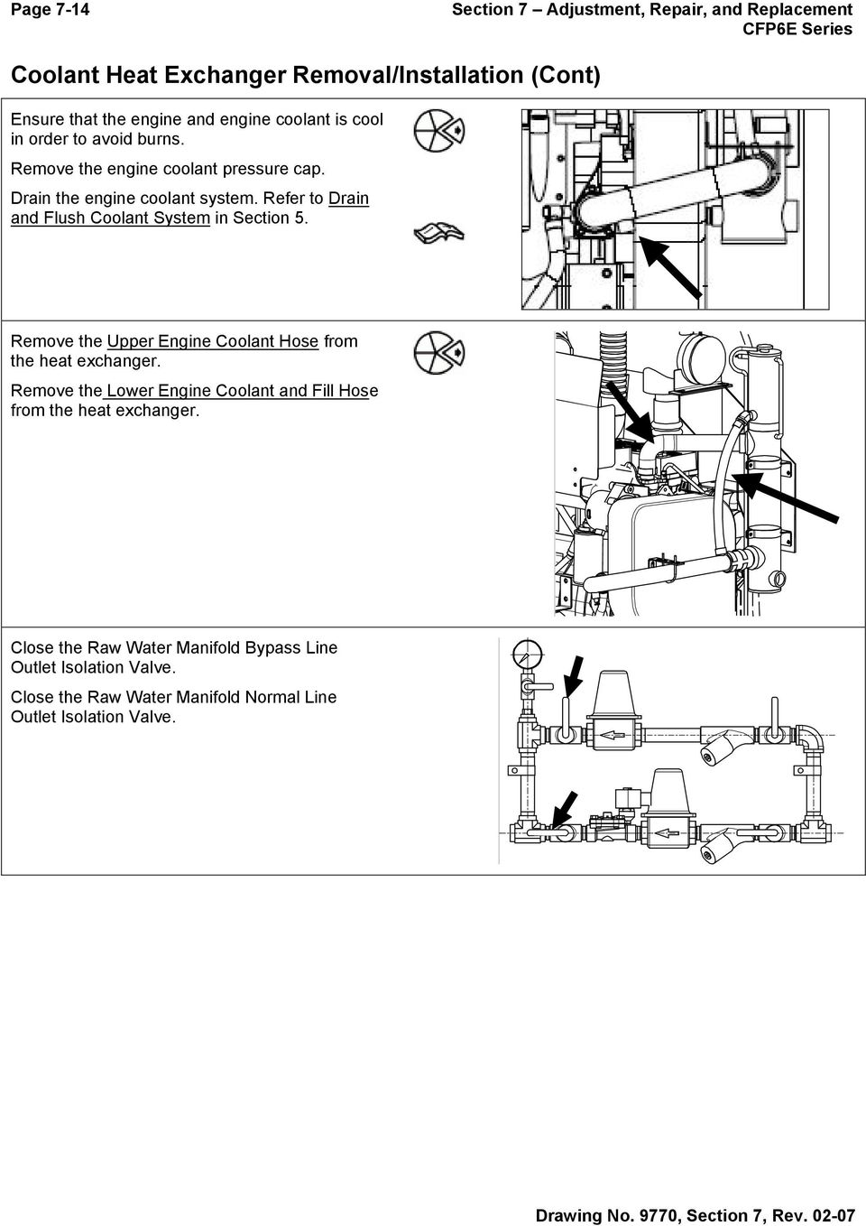 Refer to Drain and Flush Coolant System in Section 5. Remove the Upper  Engine Coolant. 15 Section 7 Adjustment, Repair ...