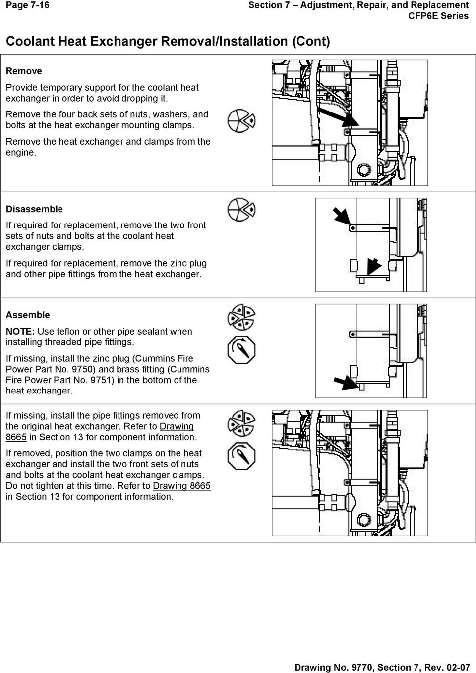 Disassemble If required for replacement, remove the two front sets of nuts  and bolts at. 17 Section 7 Adjustment, Repair ...