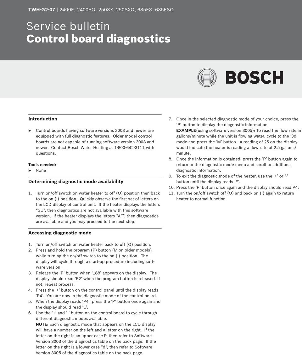 Service Bulletin Booklet  For Bosch model water heaters GWH 635 ES