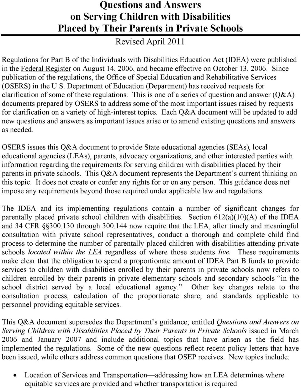 Osers Issues New Guidance Concerning >> Questions And Answers On Serving Children With Disabilities Placed