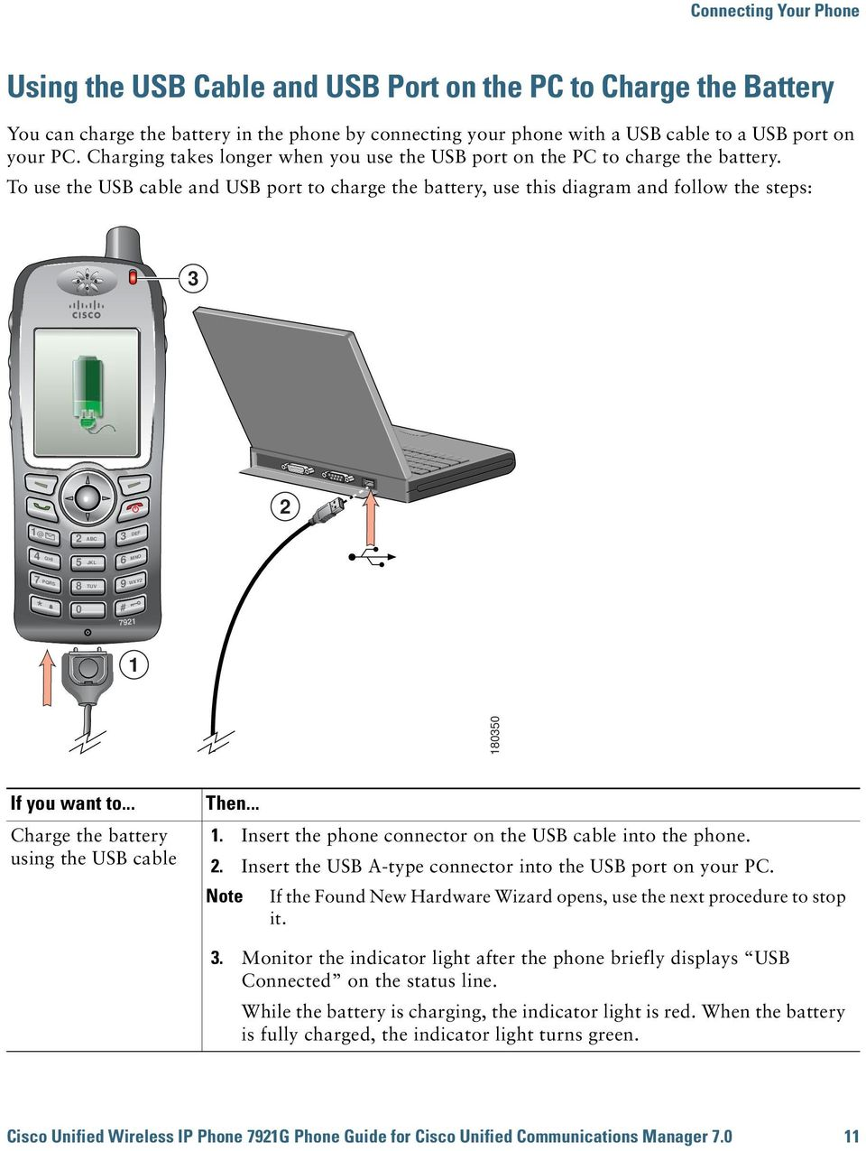 To use the USB cable and USB port to charge the battery, use this diagram and follow the steps: 3 2 1@ 4 7 * GHI PQRS 2 ABC 5 JKL 8 TUV 0 3 DEF 6 MNO 9 # WXYZ 7921 1 180350 Charge the battery using