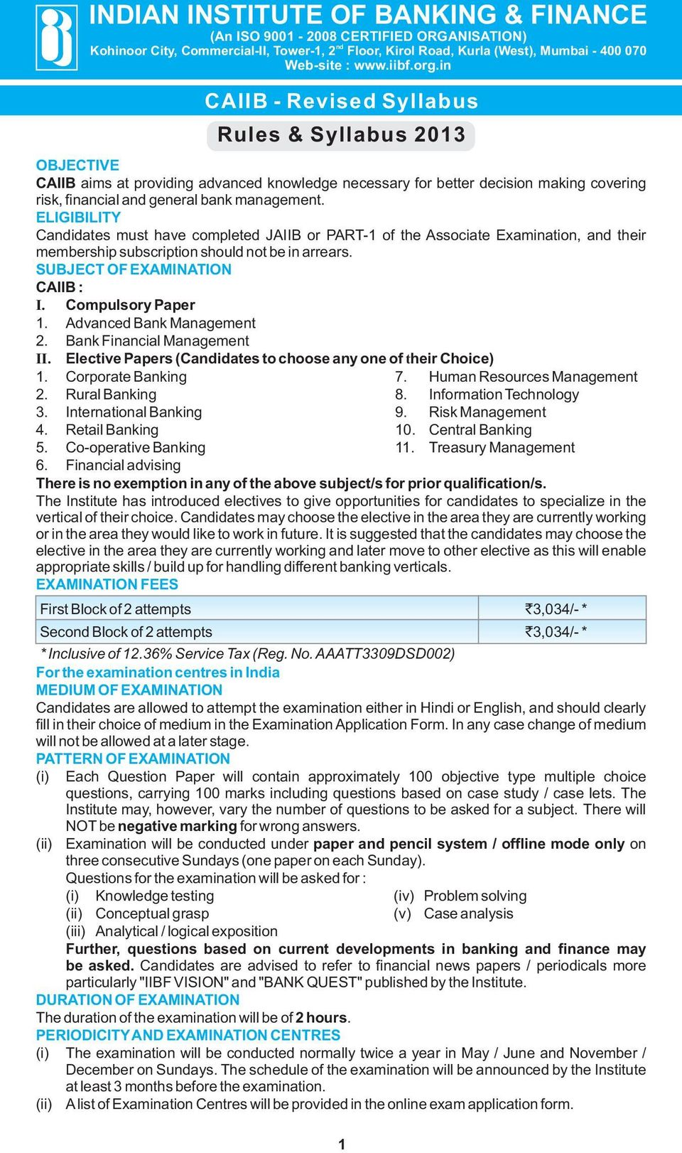 INDIAN INSTITUTE OF BANKING & FINANCE - PDF