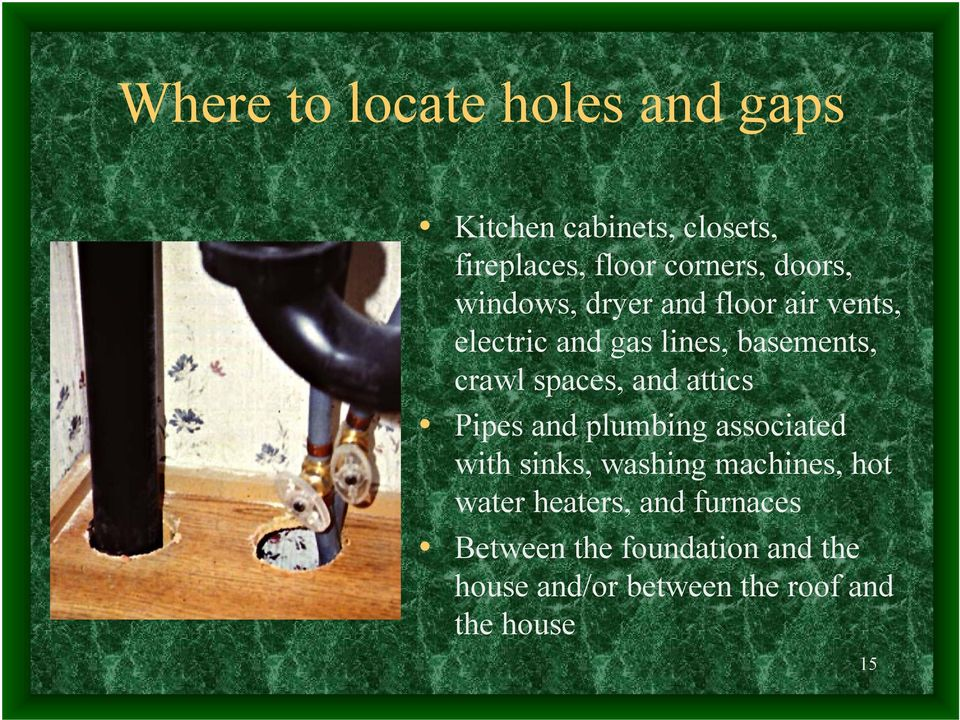 spaces, and attics Pipes and plumbing associated with sinks, washing machines, hot water