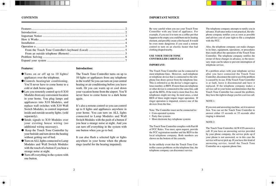 Touch Tone Controller. Model TR16A. Owner s Manual - PDF on