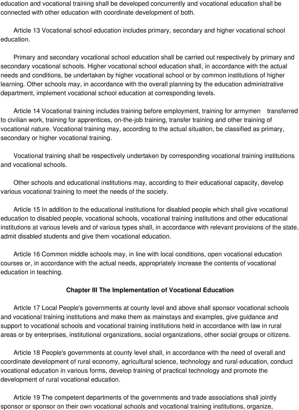 Vocational Education Law of the People's Republic of China - PDF