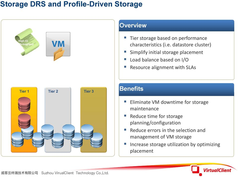 Benefits Tier 1 Tier 2 Tier 3 Eliminate VM downtime for storage maintenance Reduce time for storage