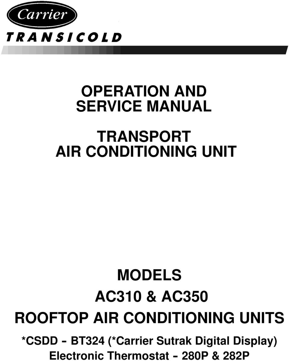Transport Air Conditioning Pdf Thermo King Erc Tc Unit Wiring Schematic Diagram Manual Units Csdd Bt324 Carrier
