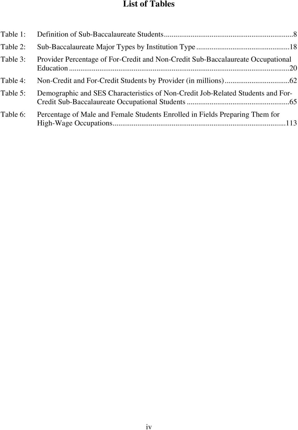 ..20 Table 4: Non-Credit and For-Credit Students by Provider (in millions).