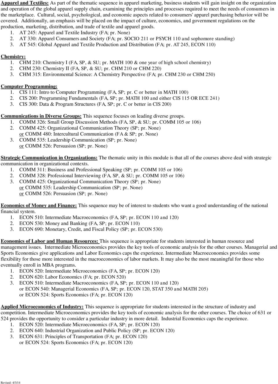 THEMATIC SEQUENCES (DETAILED) College of Business Administration - PDF