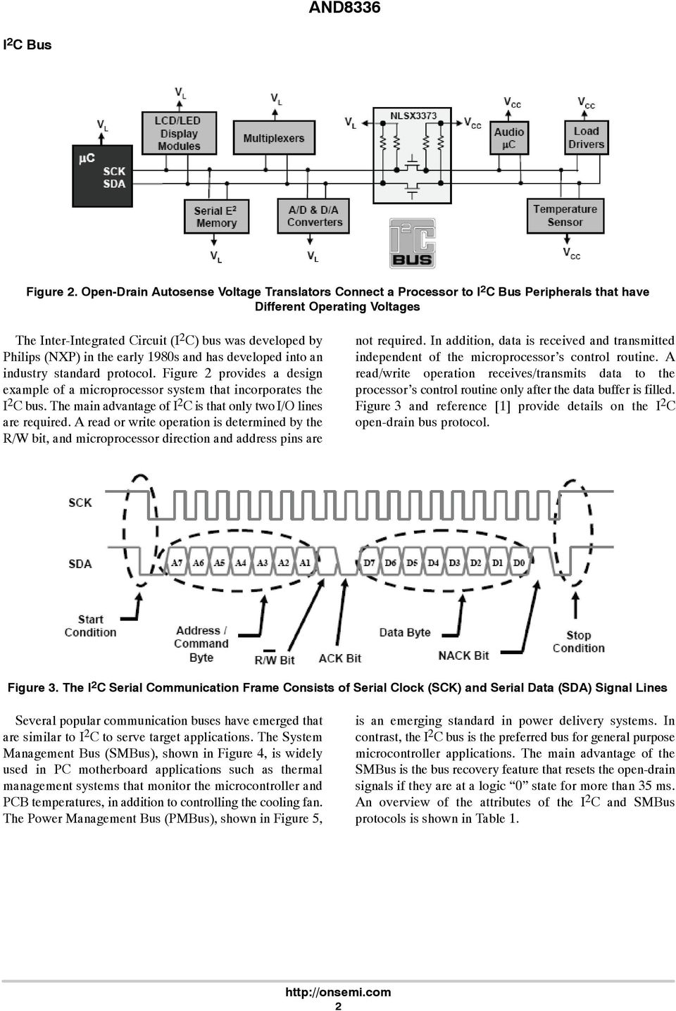 the early 1980s and has developed into an industry standard protocol. Figure 2 provides a design example of a microprocessor system that incorporates the I 2 C bus.