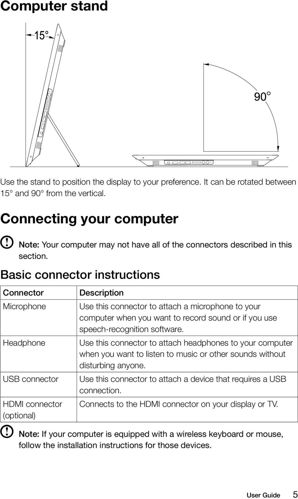 Basic connector instructions Connector Microphone Headphone USB connector HDMI connector (optional) Description Use this connector to attach a microphone to your computer when you want to record