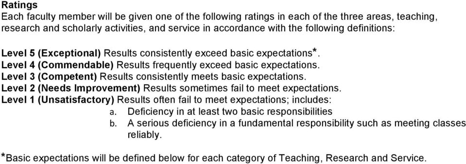 Level 3 (Competent) Results consistently meets basic expectations. Level 2 (Needs Improvement) Results sometimes fail to meet expectations.