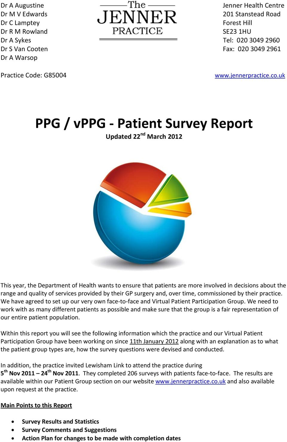 uk PPG / vppg Patient Survey Report Updated 22 nd March 2012 This year, the Department of Health wants to ensure that patients are more involved in decisions about the range and quality of services