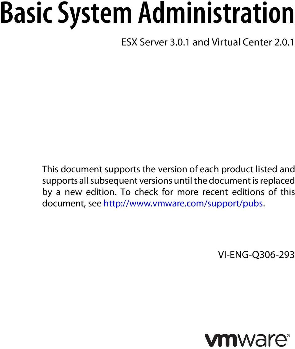 1 This document supports the version of each product listed and supports all
