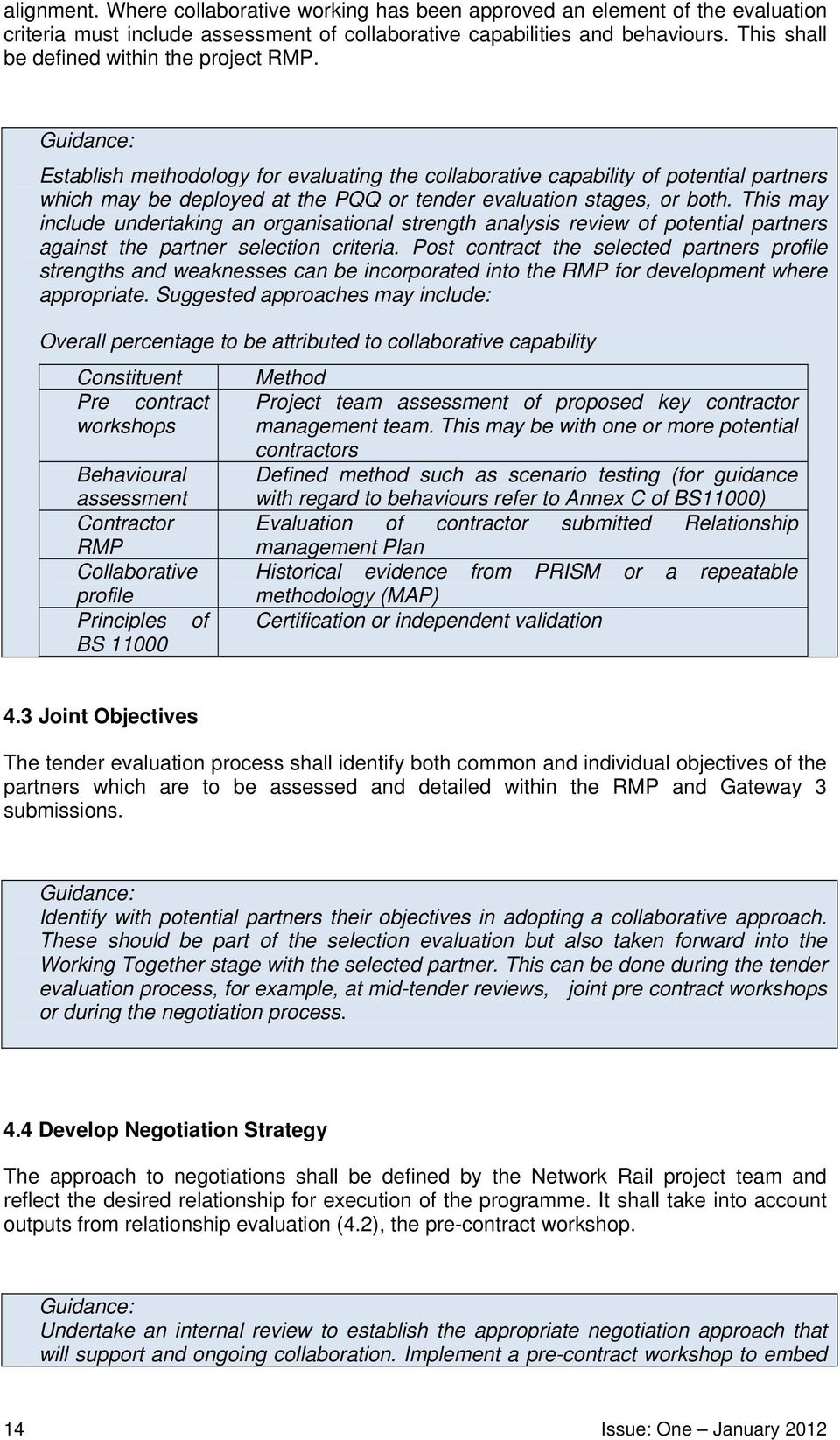 Establish methodology for evaluating the collaborative capability of potential partners which may be deployed at the PQQ or tender evaluation stages, or both.