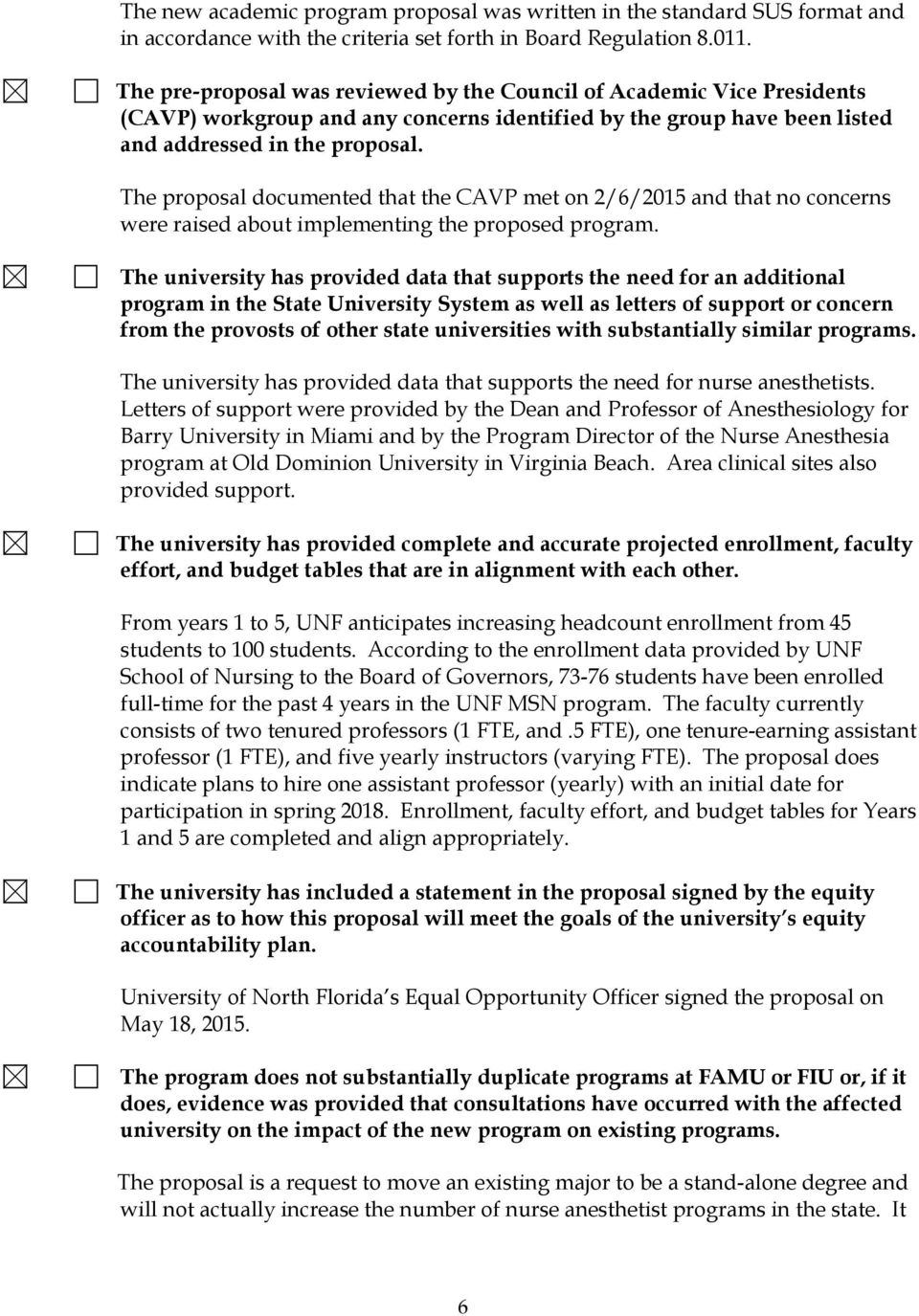 The proposal documented that the CAVP met on 2/6/2015 and that no concerns were raised about implementing the proposed program.