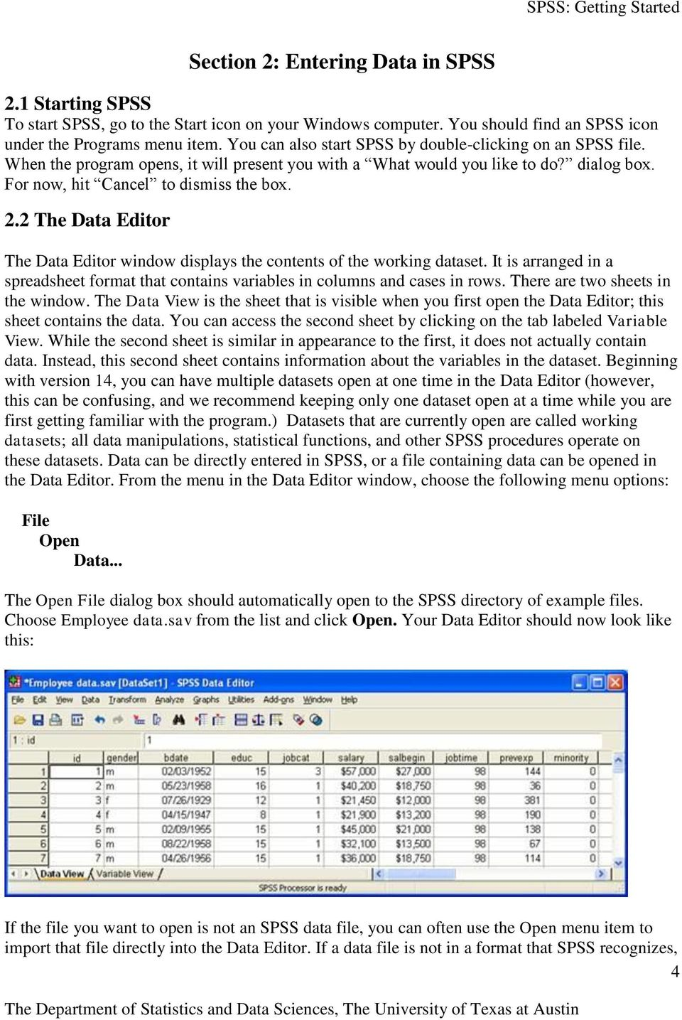 2 The Data Editor The Data Editor window displays the contents of the working dataset. It is arranged in a spreadsheet format that contains variables in columns and cases in rows.