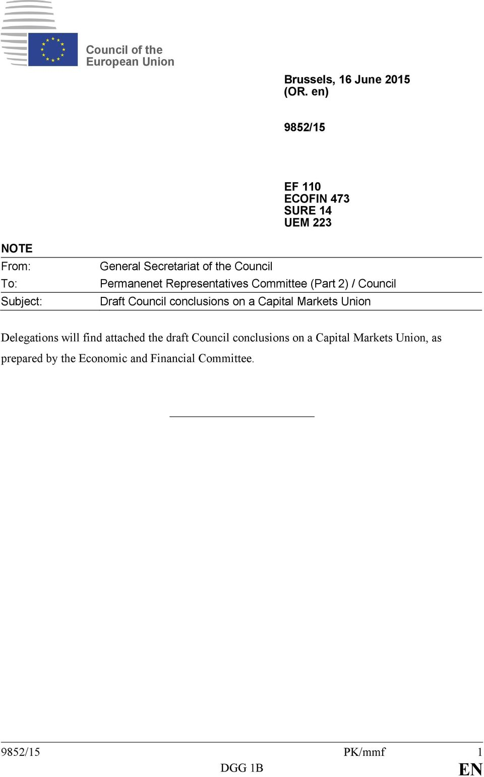 Permanenet Representatives Committee (Part 2) / Council Draft Council conclusions on a Capital Markets Union