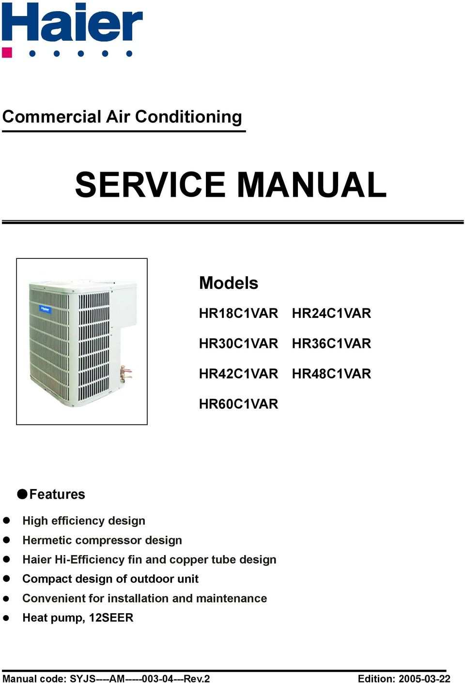 Haier Commercial Air Conditioner Service Manual Part Ac Handler Wiring Diagrams Transcription
