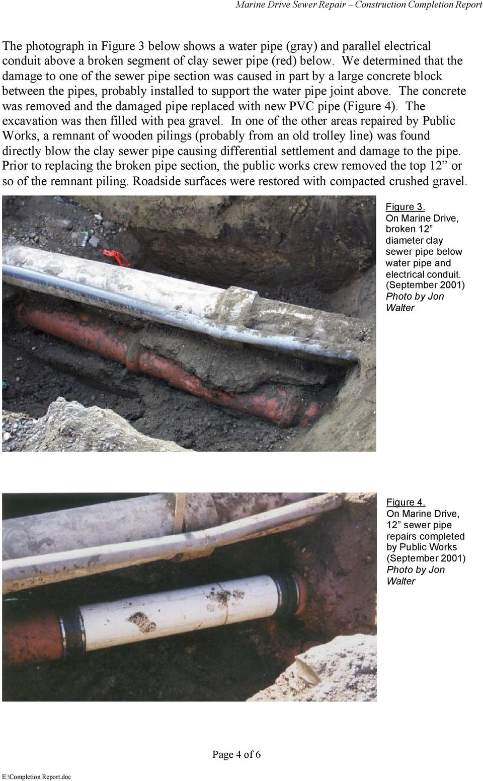 GRAVITY SEWER REPAIR MARINE DRIVE CONSTRUCTION COMPLETION