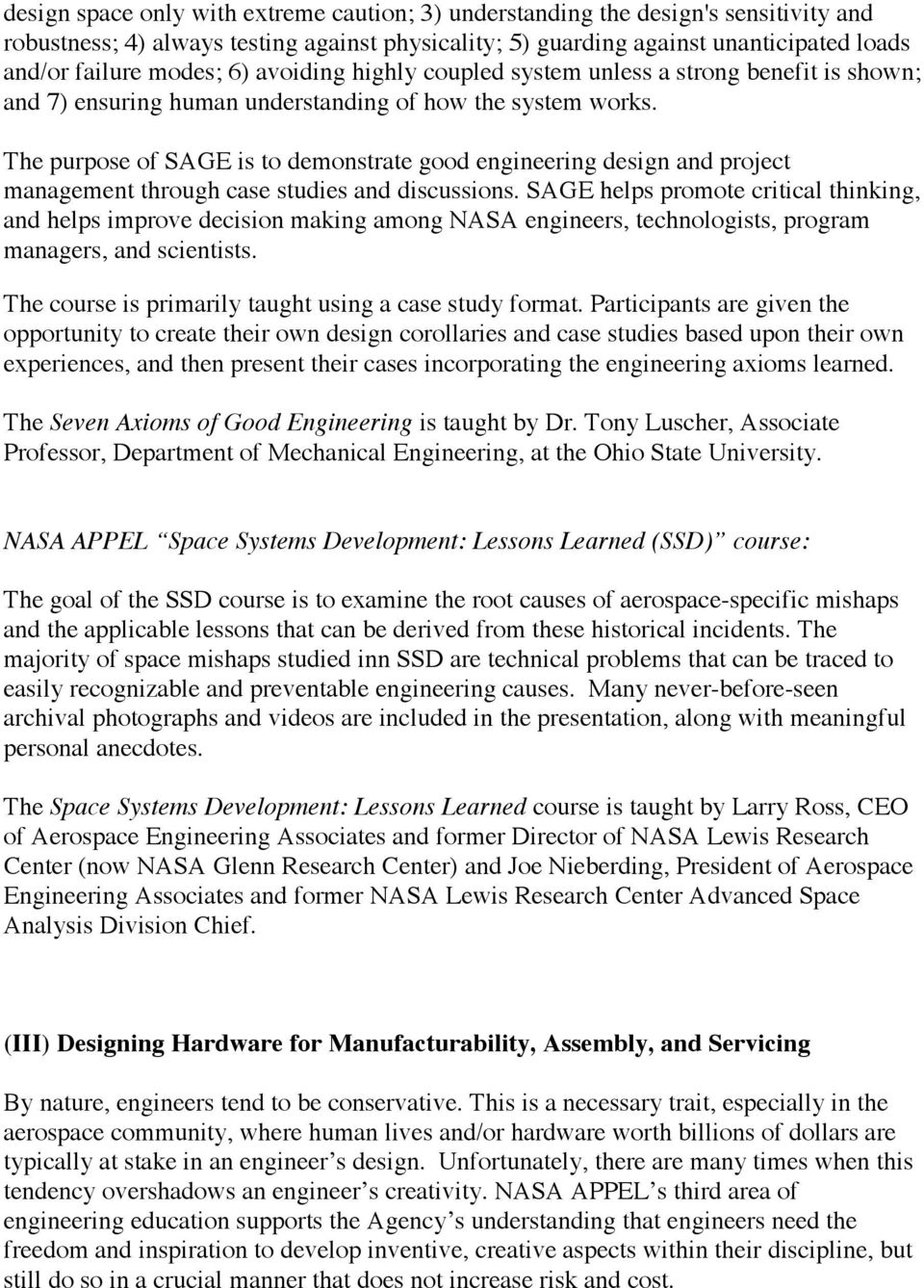 Unique Education & Workforce Development for NASA Engineers - PDF