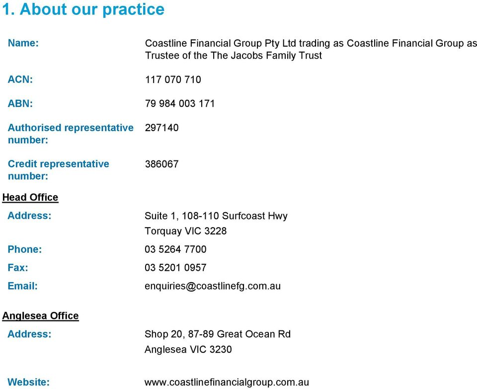 Head Office Address: Suite 1, 108-110 Surfcoast Hwy Torquay VIC 3228 Phone: 03 5264 7700 Fax: 03 5201 0957 Email: