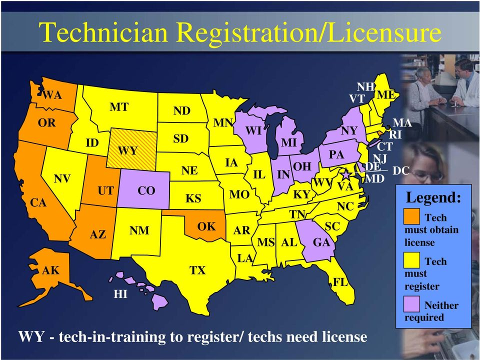 NC TN Tech OK AR SC must obtain MS AL GA license LA Tech TX must FL register