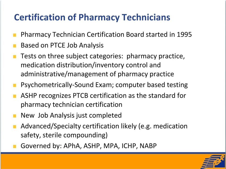 Update on Pharmacy Technician Issues and ASHP Pharmacy Technician ...