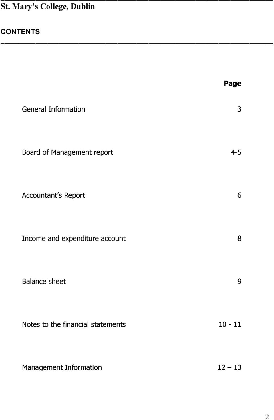 Report 6 Income and expenditure account 8 Balance sheet 9