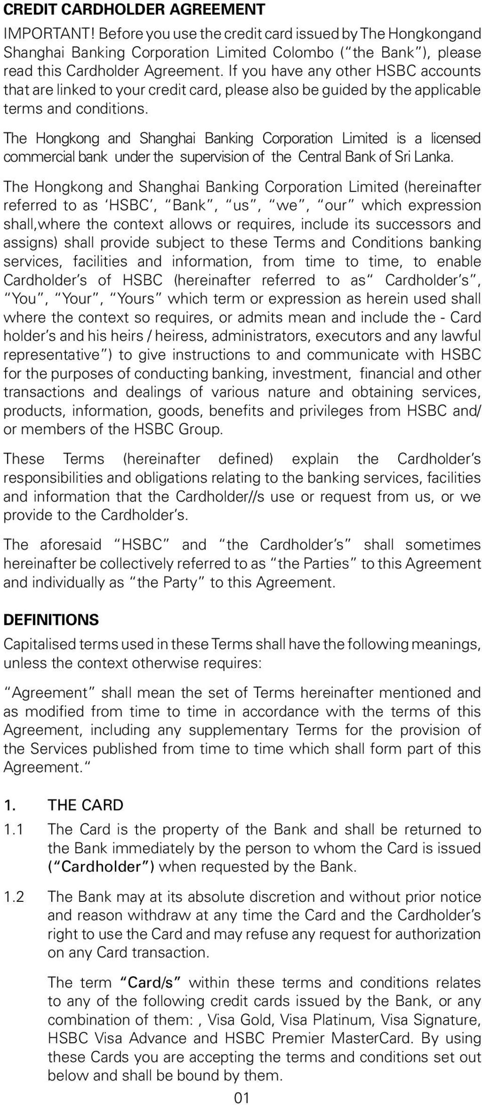 General Terms and Conditions for HSBC Credit Cards - PDF