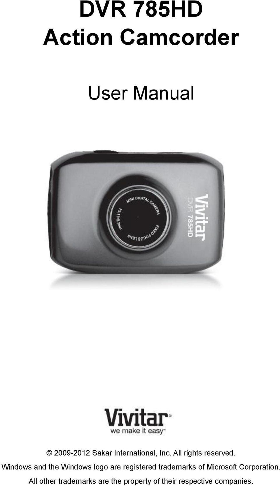 dvr 785hd action camcorder pdf