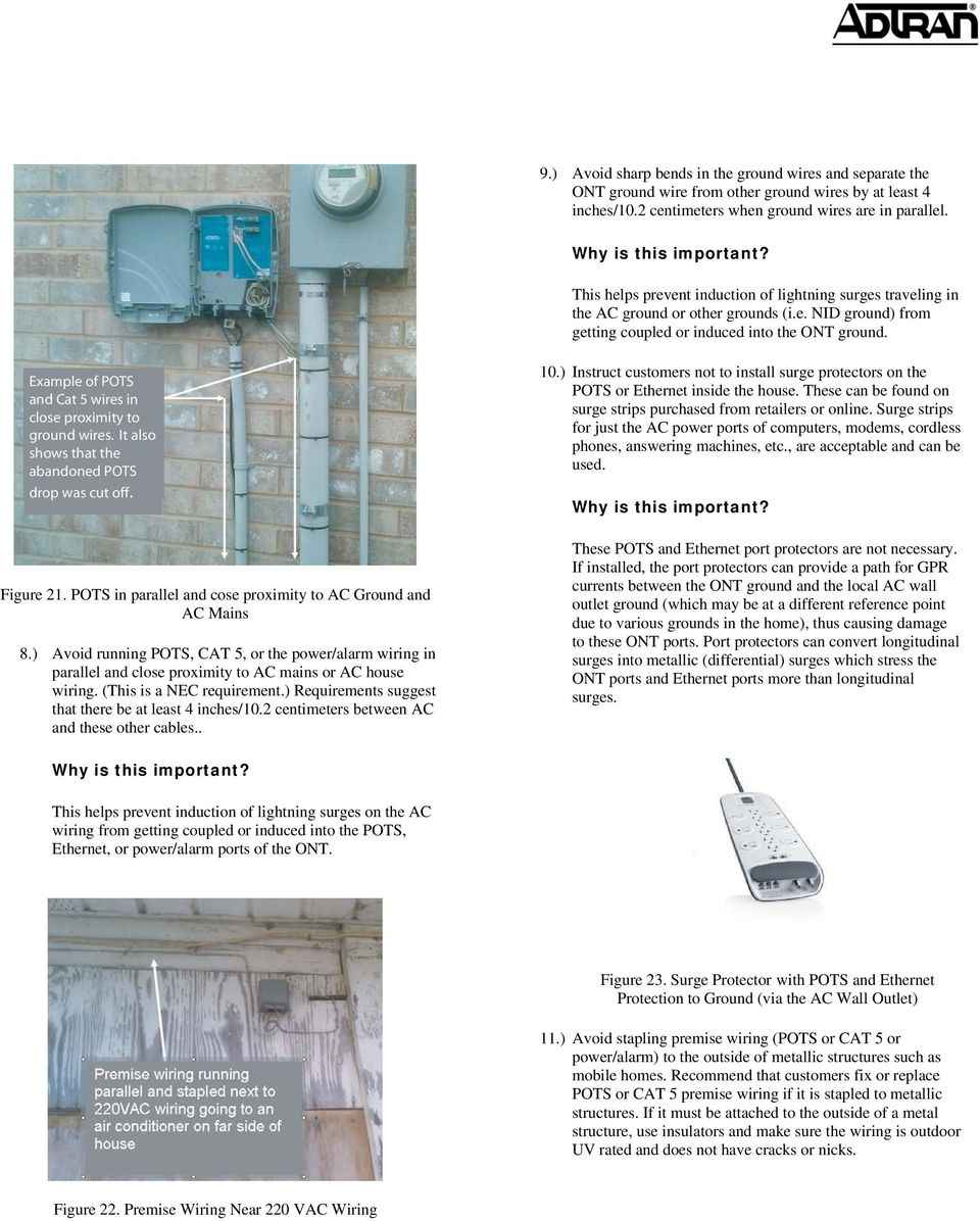 Ont Installation Practices Pdf 220 Vac Wiring Example Of Pots And Cat 5 Wires In Close Proximity To Ground It Also